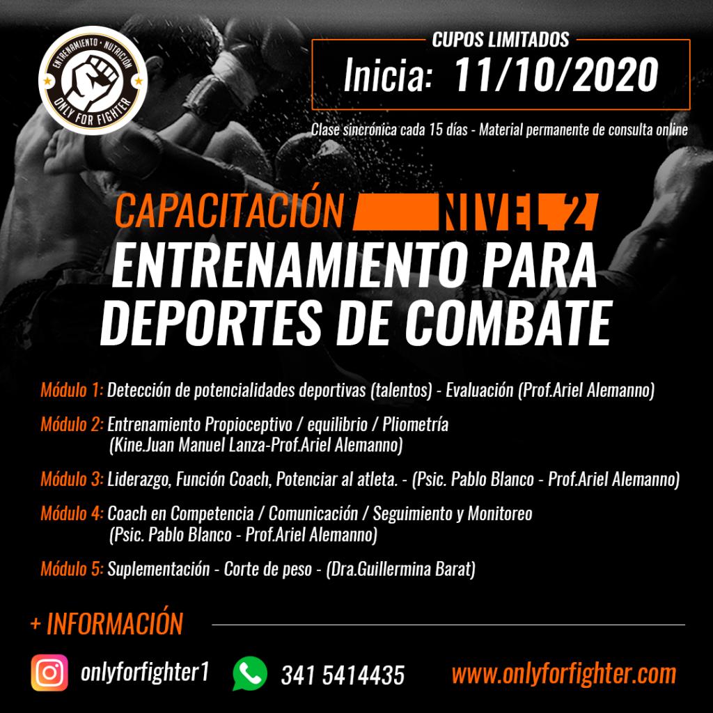 Capacitación Entrenamiento y nutrición deportes de Combate Nivel 2